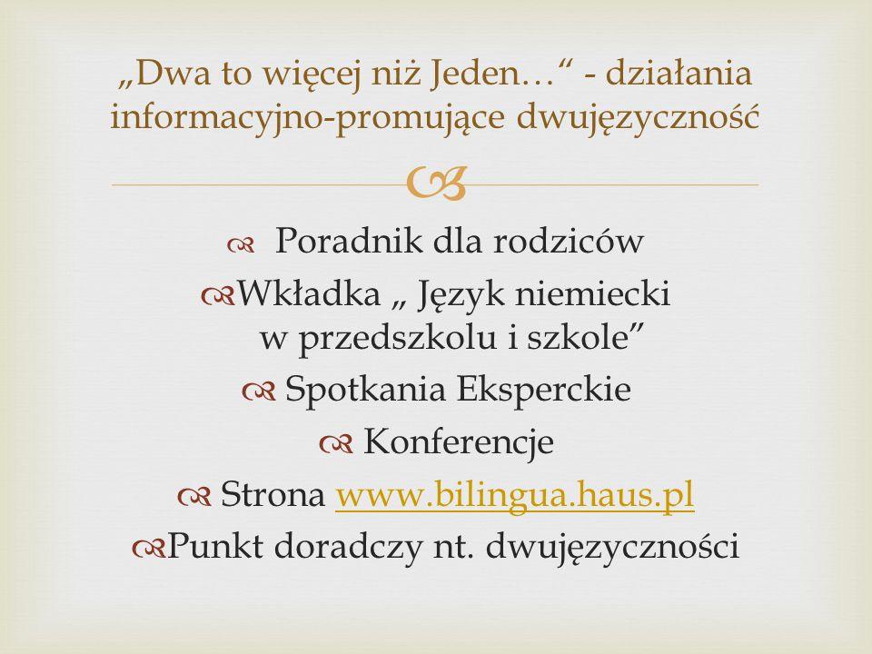 Poradnik dla rodziców Wkładka Język niemiecki w przedszkolu i szkole Spotkania Eksperckie Konferencje Strona www.bilingua.haus.plwww.bilingua.haus.pl