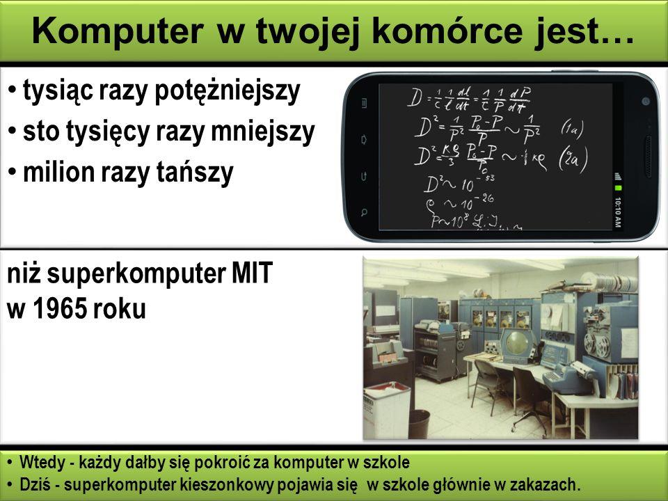 tysiąc razy potężniejszy sto tysięcy razy mniejszy milion razy tańszy tysiąc razy potężniejszy sto tysięcy razy mniejszy milion razy tańszy Komputer w twojej komórce jest… Wtedy - każdy dałby się pokroić za komputer w szkole Dziś - superkomputer kieszonkowy pojawia się w szkole głównie w zakazach.