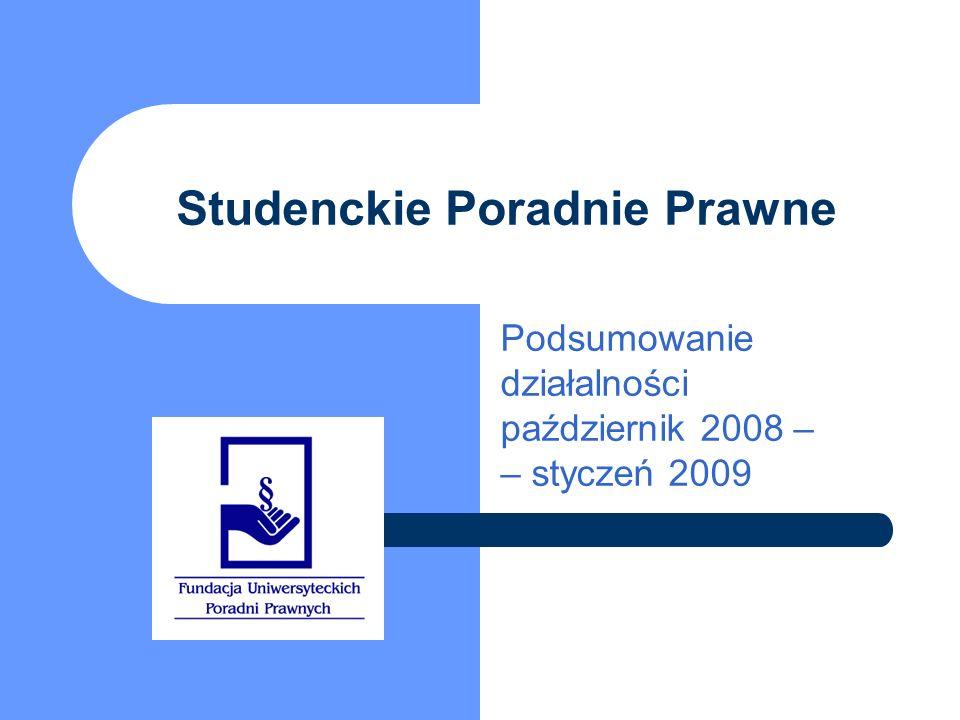 Studenckie Poradnie Prawne Podsumowanie działalności październik 2008 – – styczeń 2009