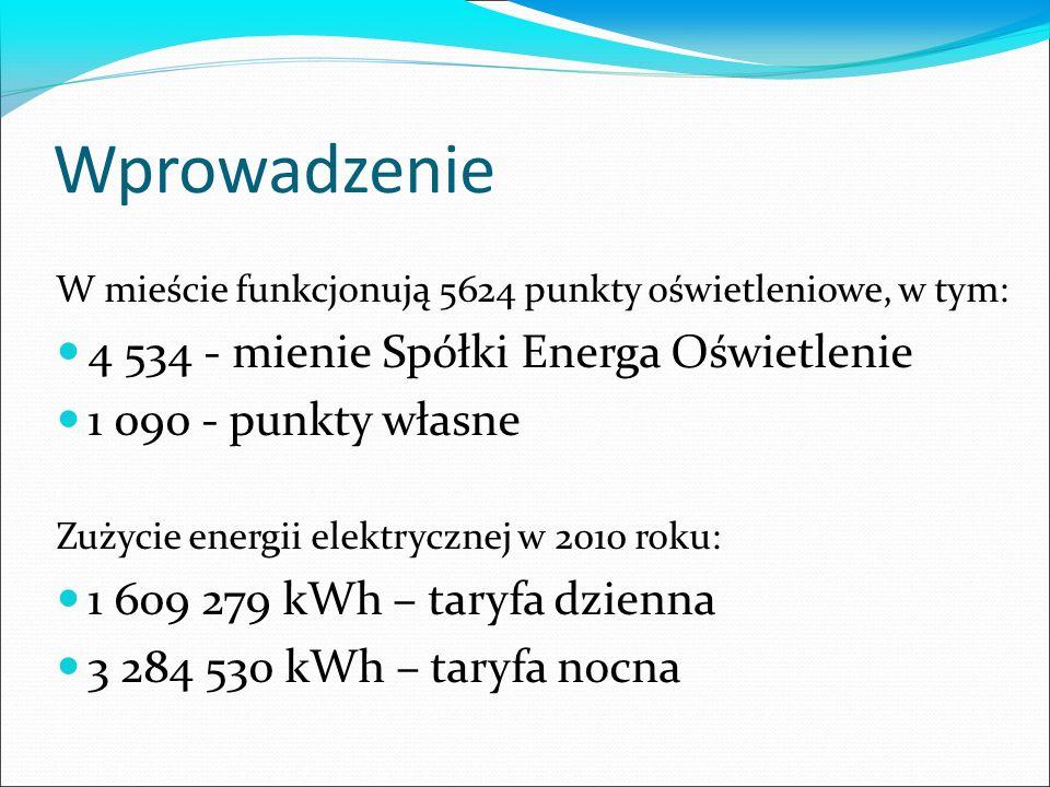 Wprowadzenie W mieście funkcjonują 5624 punkty oświetleniowe, w tym: 4 534 - mienie Spółki Energa Oświetlenie 1 090 - punkty własne Zużycie energii elektrycznej w 2010 roku: 1 609 279 kWh – taryfa dzienna 3 284 530 kWh – taryfa nocna