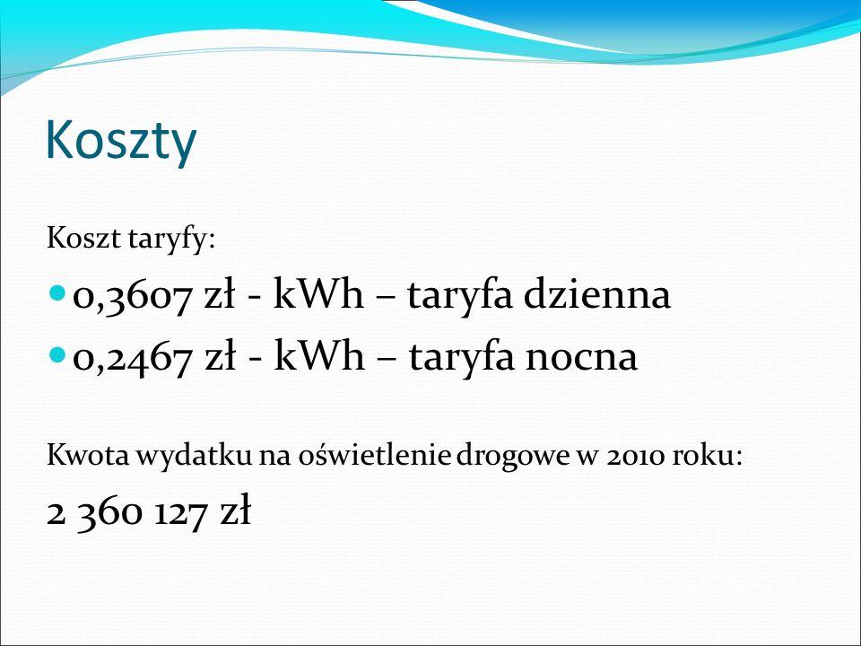 Koszty Koszt taryfy: 0,3607 zł - kWh – taryfa dzienna 0,2467 zł - kWh – taryfa nocna Kwota wydatku na oświetlenie drogowe w 2010 roku: 2 360 127 zł