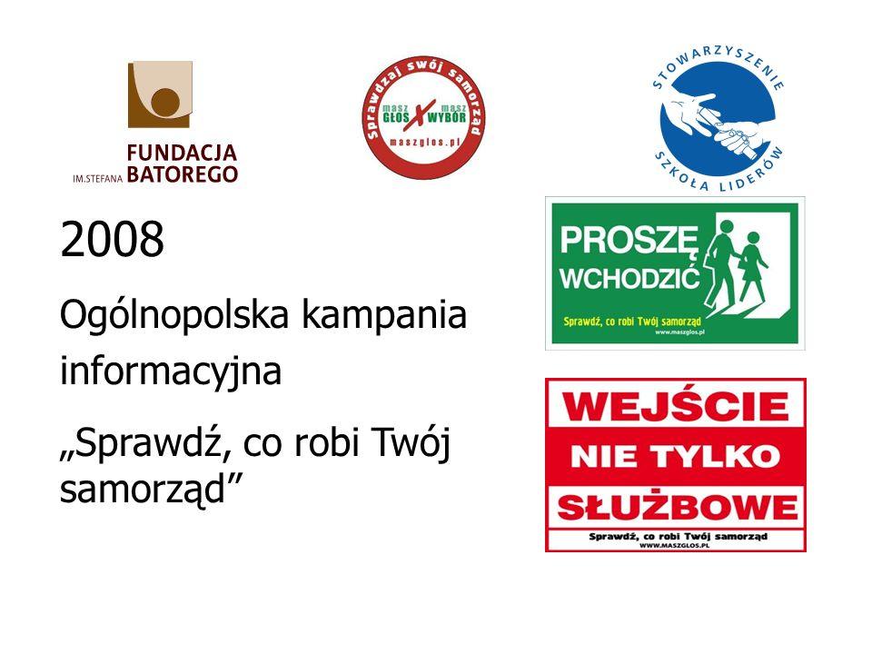2008 Ogólnopolska kampania informacyjna Sprawdź, co robi Twój samorząd