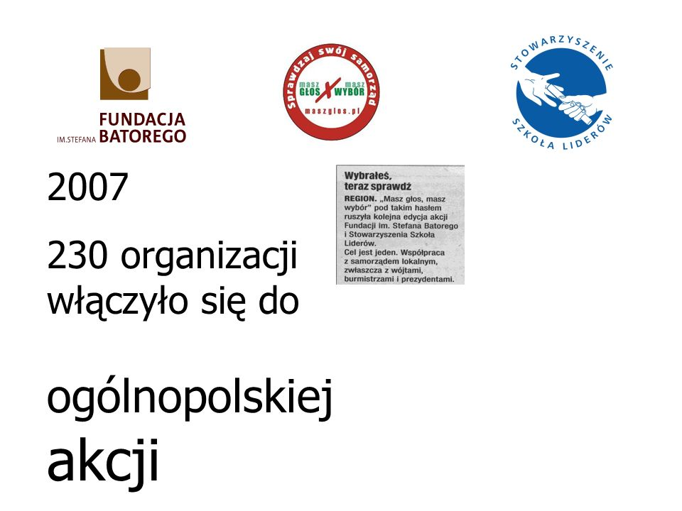 2007 230 organizacji włączyło się do ogólnopolskiej akcji