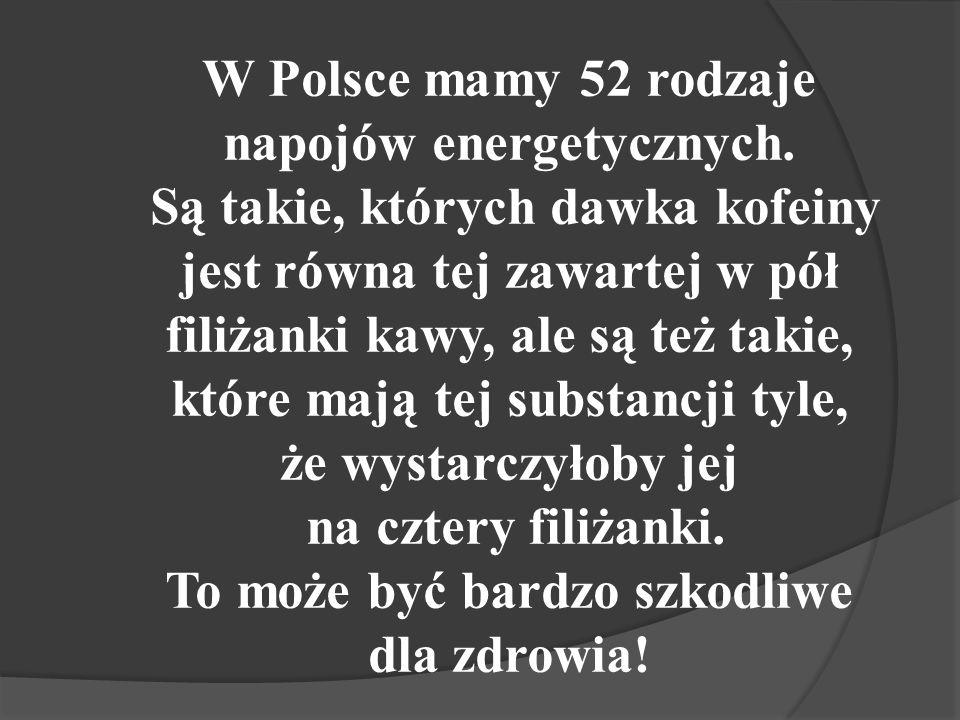 W Polsce mamy 52 rodzaje napojów energetycznych.