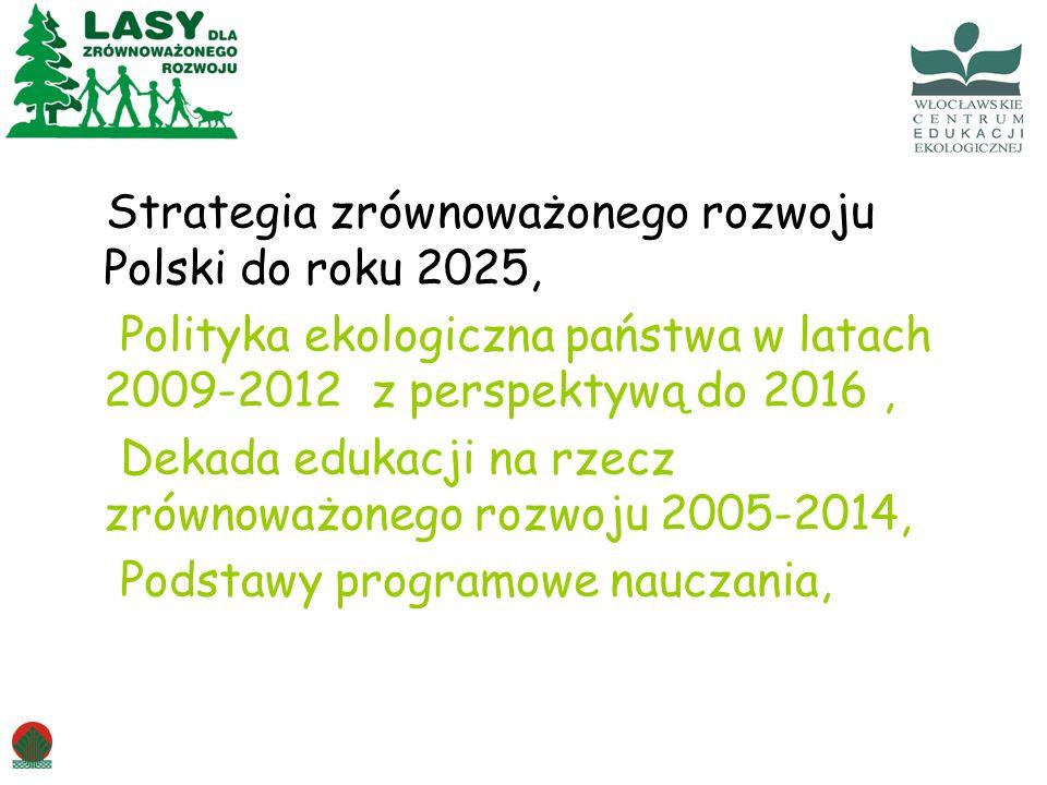Strategia zrównoważonego rozwoju Polski do roku 2025, Polityka ekologiczna państwa w latach 2009-2012 z perspektywą do 2016, Dekada edukacji na rzecz zrównoważonego rozwoju 2005-2014, Podstawy programowe nauczania,