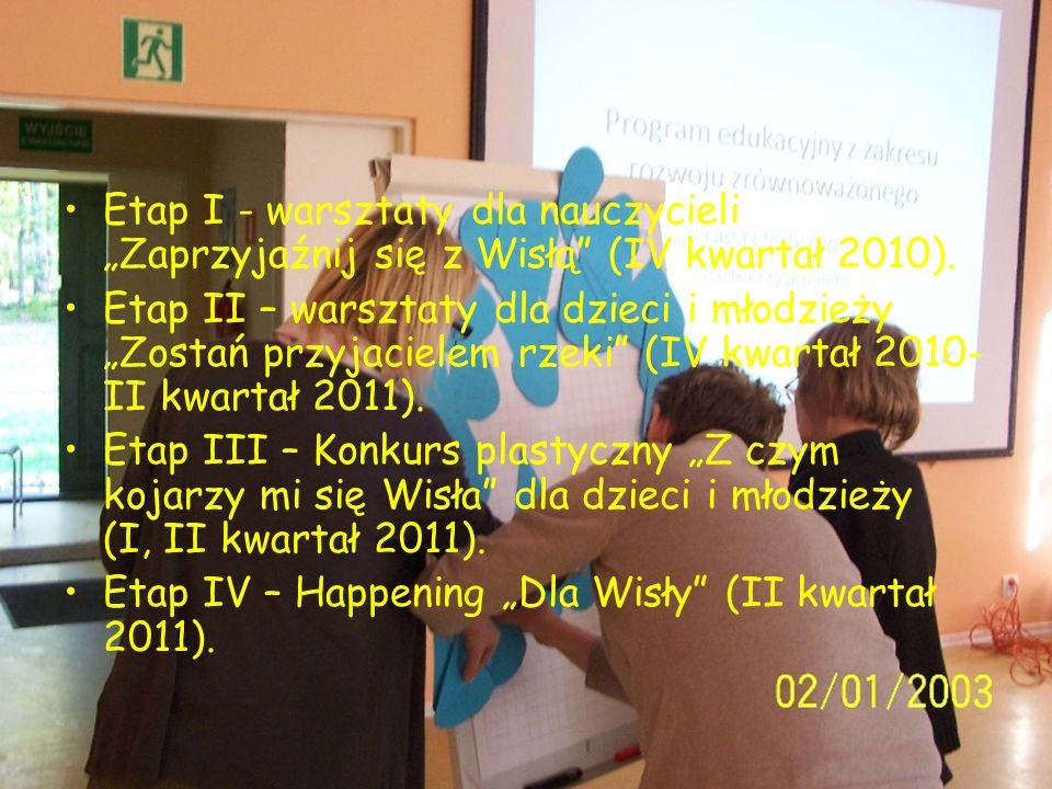 Etapy projektu Etap I - warsztaty dla nauczycieli Zaprzyjaźnij się z Wisłą (IV kwartał 2010). Etap II – warsztaty dla dzieci i młodzieży Zostań przyja