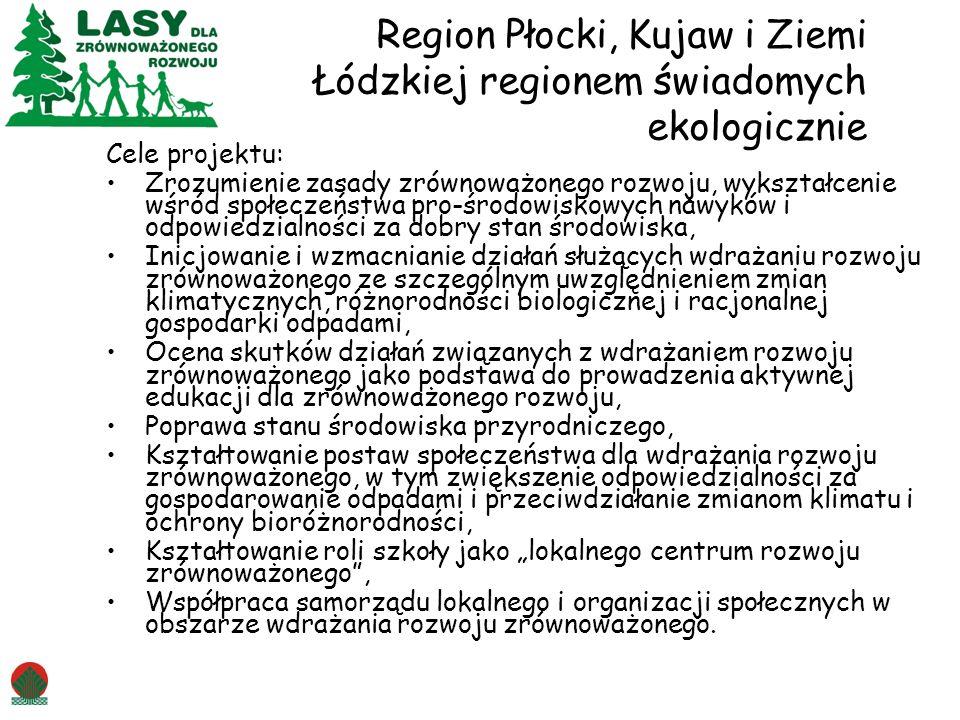 Region Płocki, Kujaw i Ziemi Łódzkiej regionem świadomych ekologicznie Cele projektu: Zrozumienie zasady zrównoważonego rozwoju, wykształcenie wśród s
