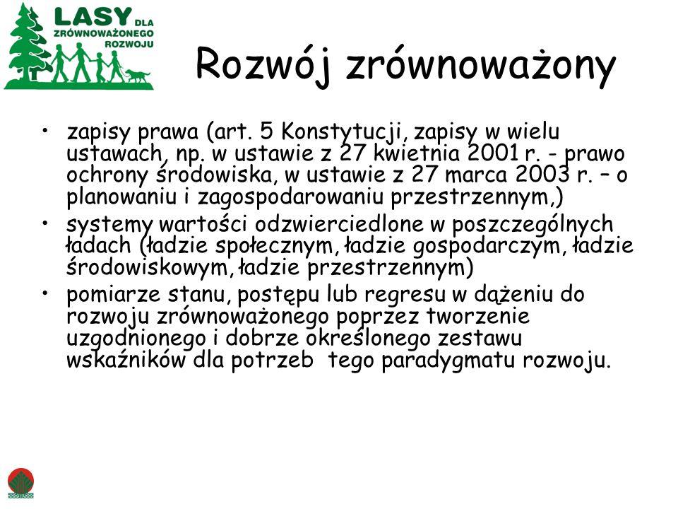Rozwój zrównoważony zapisy prawa (art. 5 Konstytucji, zapisy w wielu ustawach, np. w ustawie z 27 kwietnia 2001 r. - prawo ochrony środowiska, w ustaw
