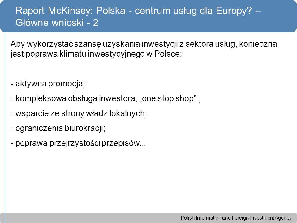 Polish Information and Foreign Investment Agency Aby wykorzystać szansę uzyskania inwestycji z sektora usług, konieczna jest poprawa klimatu inwestycy