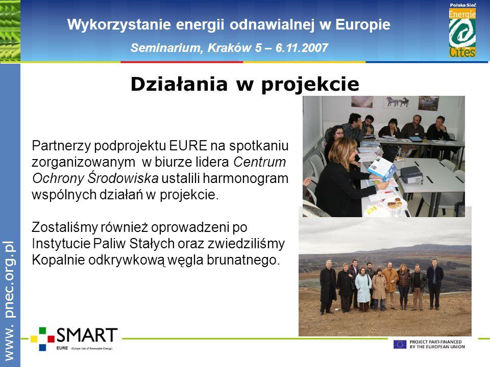www.pnec.org.pl Polska Sieć www. pnec.org.pl Wykorzystanie energii odnawialnej w Europie Seminarium, Kraków 5 – 6.11.2007 Działania w projekcie Partne