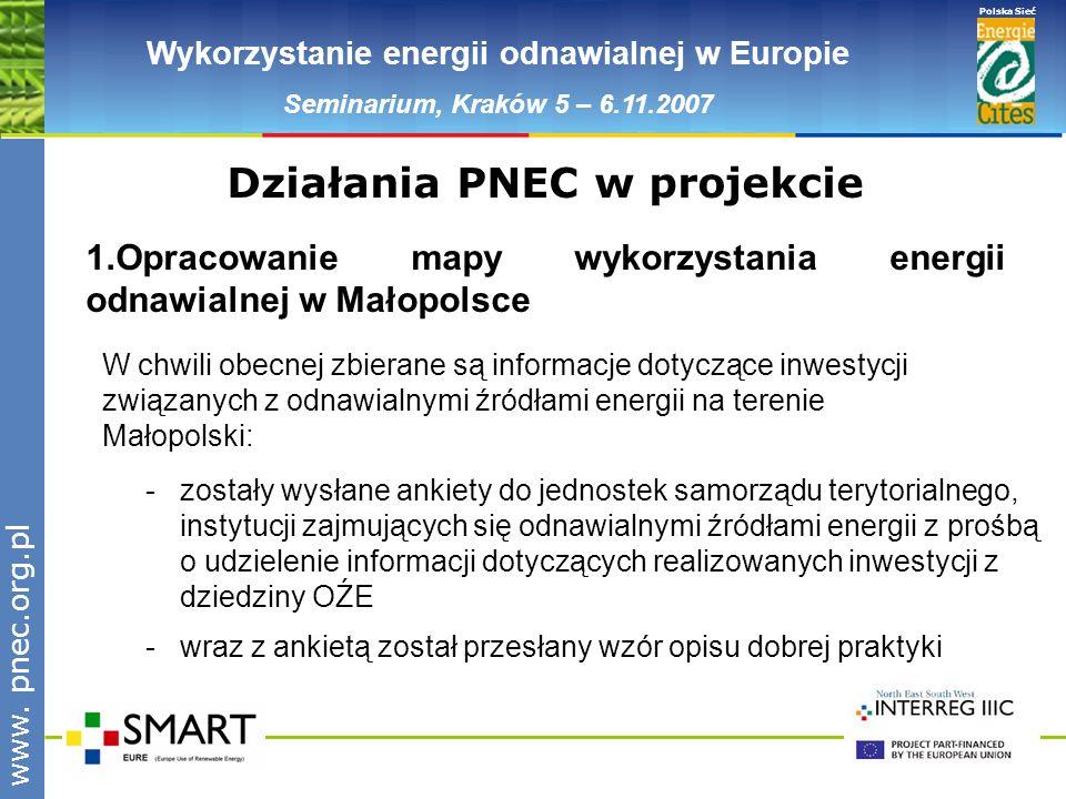 www.pnec.org.pl Polska Sieć www. pnec.org.pl Wykorzystanie energii odnawialnej w Europie Seminarium, Kraków 5 – 6.11.2007 -zostały wysłane ankiety do