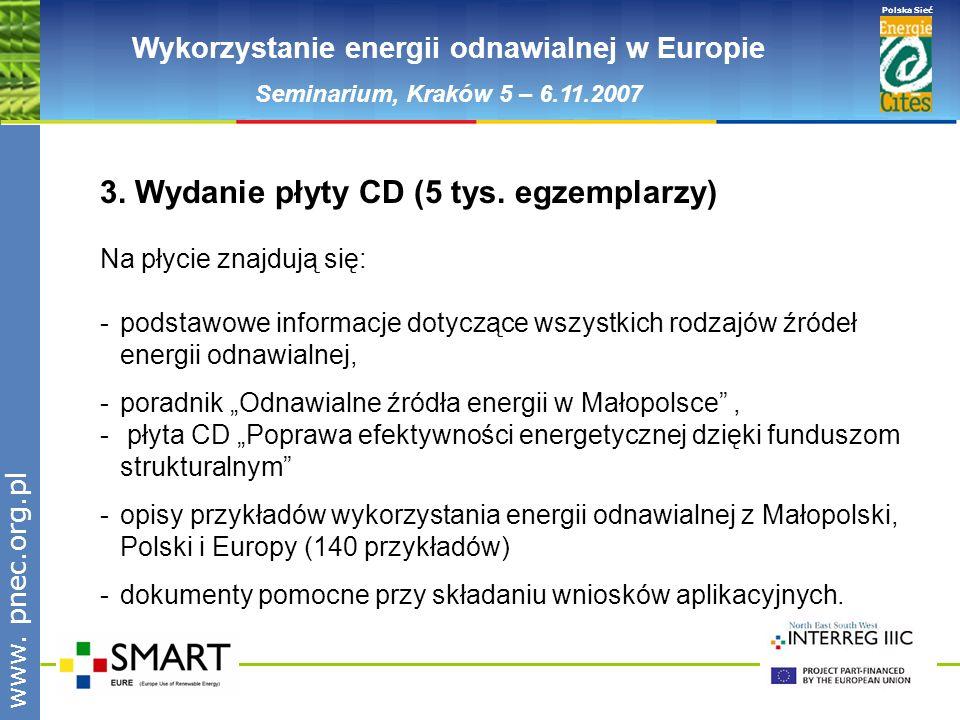 www.pnec.org.pl Polska Sieć www. pnec.org.pl Wykorzystanie energii odnawialnej w Europie Seminarium, Kraków 5 – 6.11.2007 3. Wydanie płyty CD (5 tys.