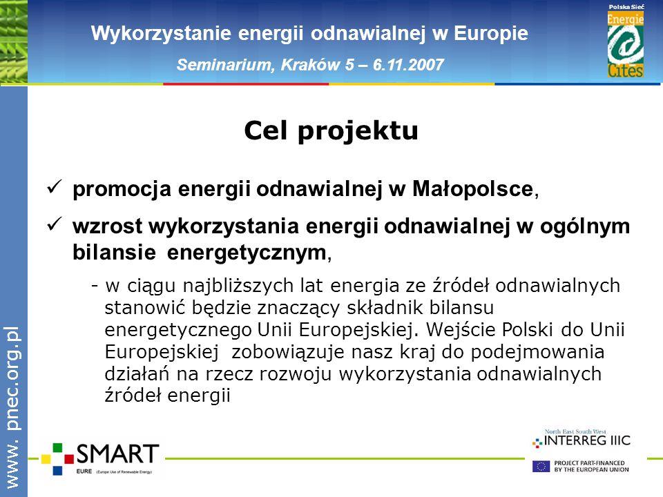 www.pnec.org.pl Polska Sieć www. pnec.org.pl Wykorzystanie energii odnawialnej w Europie Seminarium, Kraków 5 – 6.11.2007 promocja energii odnawialnej