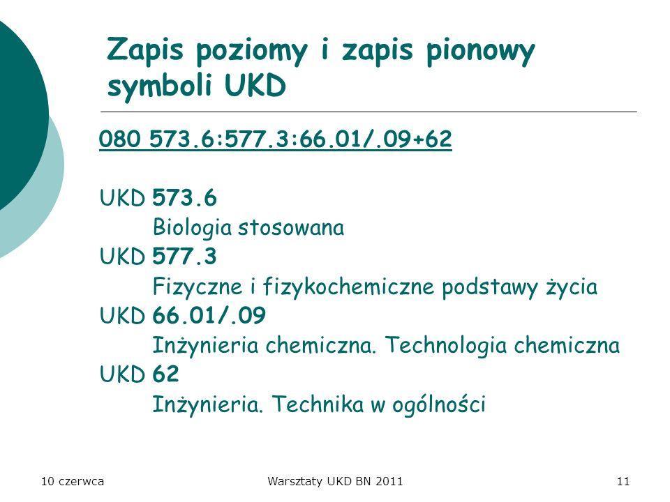 10 czerwcaWarsztaty UKD BN 201111 Zapis poziomy i zapis pionowy symboli UKD 080 573.6:577.3:66.01/.09+62 UKD 573.6 Biologia stosowana UKD 577.3 Fizycz