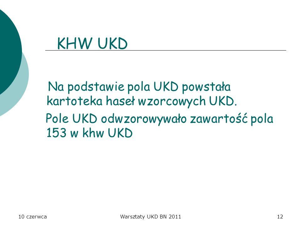 10 czerwcaWarsztaty UKD BN 201112 KHW UKD Na podstawie pola UKD powstała kartoteka haseł wzorcowych UKD. Pole UKD odwzorowywało zawartość pola 153 w k