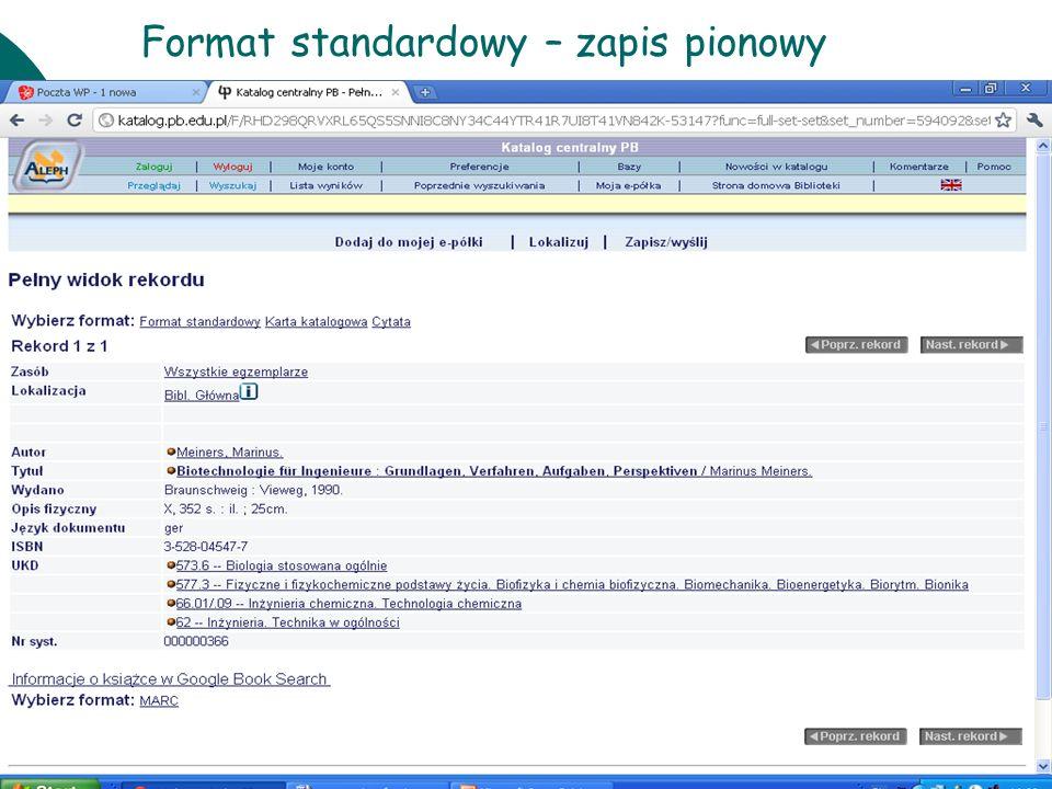 10 czerwcaWarsztaty UKD BN 201117 Format standardowy – zapis pionowy