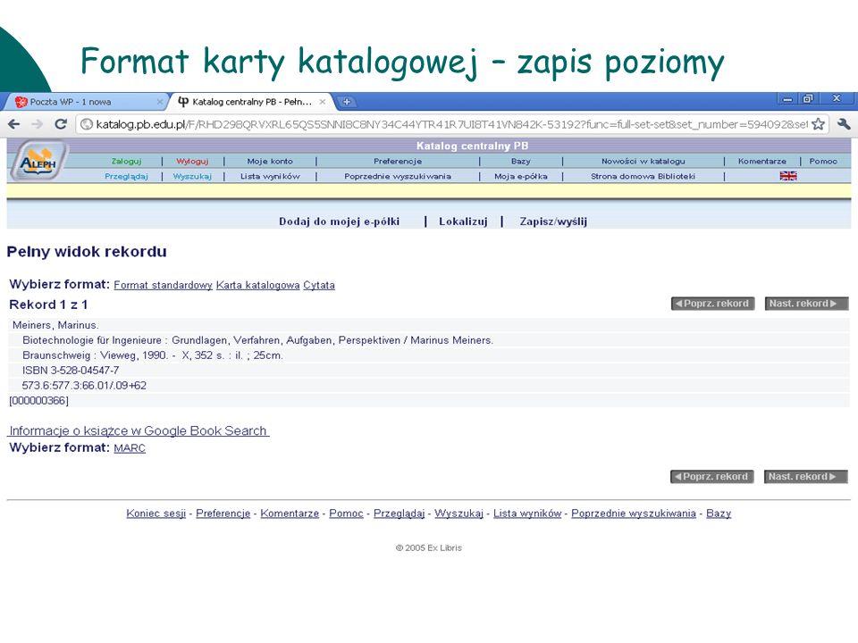 10 czerwcaWarsztaty UKD BN 201118 Format karty katalogowej – zapis poziomy