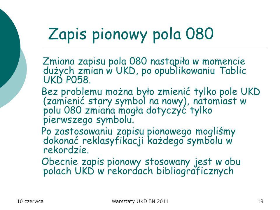 10 czerwcaWarsztaty UKD BN 201119 Zapis pionowy pola 080 Zmiana zapisu pola 080 nastąpiła w momencie dużych zmian w UKD, po opublikowaniu Tablic UKD P