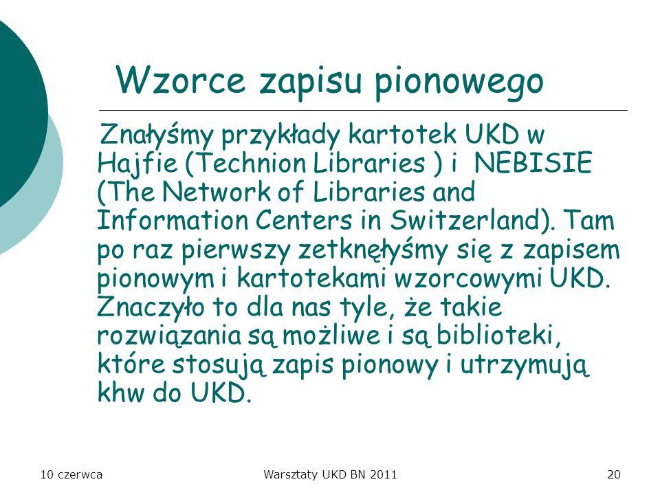 10 czerwcaWarsztaty UKD BN 201120 Wzorce zapisu pionowego Znałyśmy przykłady kartotek UKD w Hajfie (Technion Libraries ) i NEBISIE (The Network of Lib