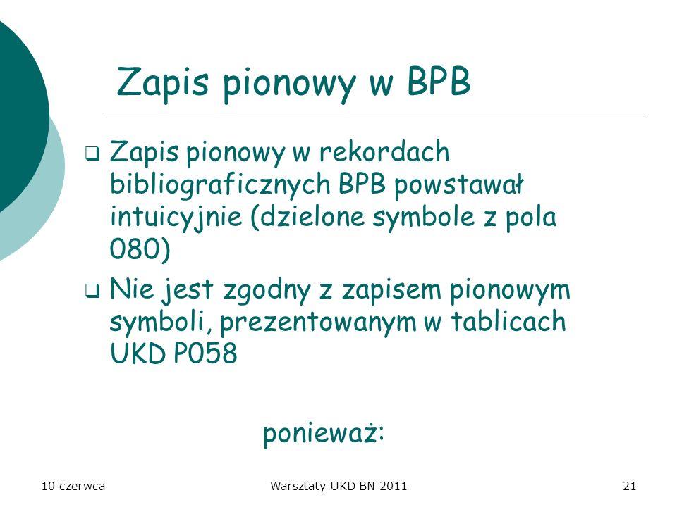 10 czerwcaWarsztaty UKD BN 201121 Zapis pionowy w BPB Zapis pionowy w rekordach bibliograficznych BPB powstawał intuicyjnie (dzielone symbole z pola 0