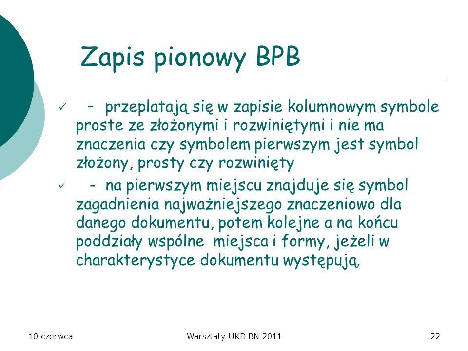 10 czerwcaWarsztaty UKD BN 201122 Zapis pionowy BPB - przeplatają się w zapisie kolumnowym symbole proste ze złożonymi i rozwiniętymi i nie ma znaczen
