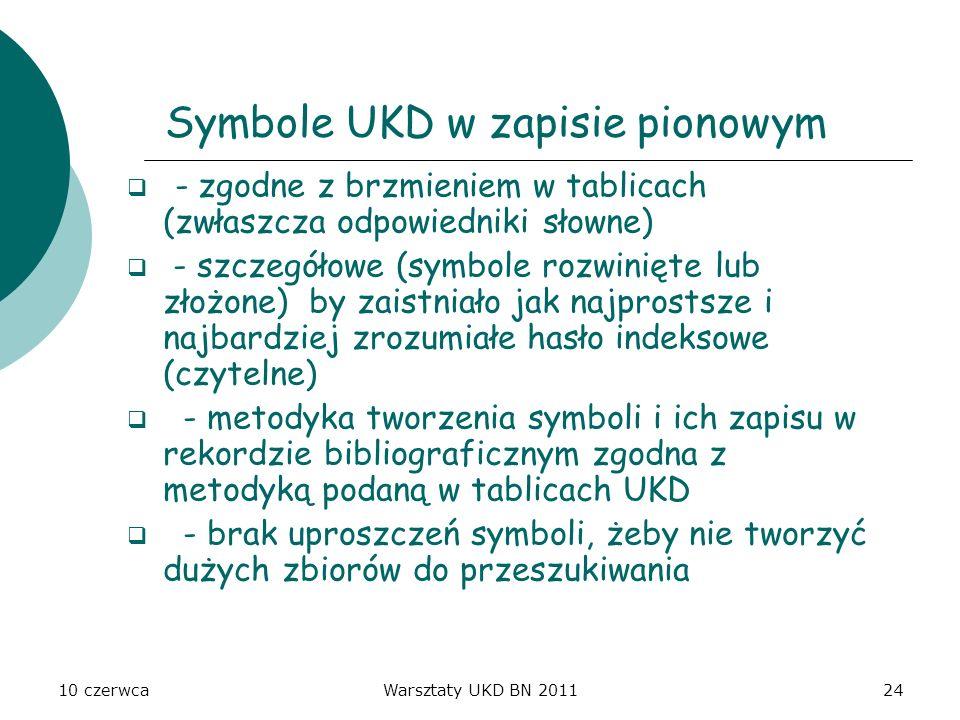 10 czerwcaWarsztaty UKD BN 201124 Symbole UKD w zapisie pionowym - zgodne z brzmieniem w tablicach (zwłaszcza odpowiedniki słowne) - szczegółowe (symb
