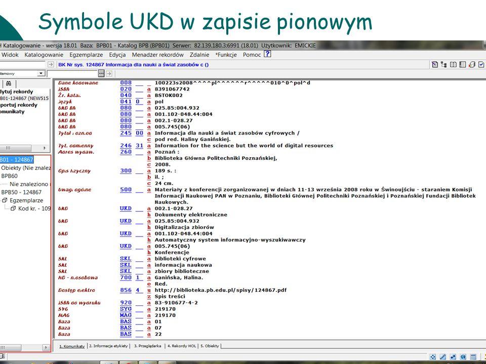 10 czerwcaWarsztaty UKD BN 201125 Symbole UKD w zapisie pionowym