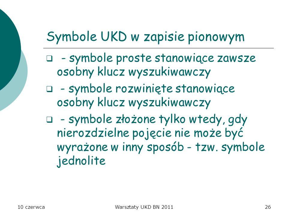 10 czerwcaWarsztaty UKD BN 201126 Symbole UKD w zapisie pionowym - symbole proste stanowiące zawsze osobny klucz wyszukiwawczy - symbole rozwinięte st