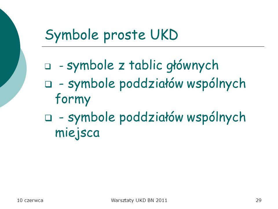 10 czerwcaWarsztaty UKD BN 201129 Symbole proste UKD - symbole z tablic głównych - symbole poddziałów wspólnych formy - symbole poddziałów wspólnych m