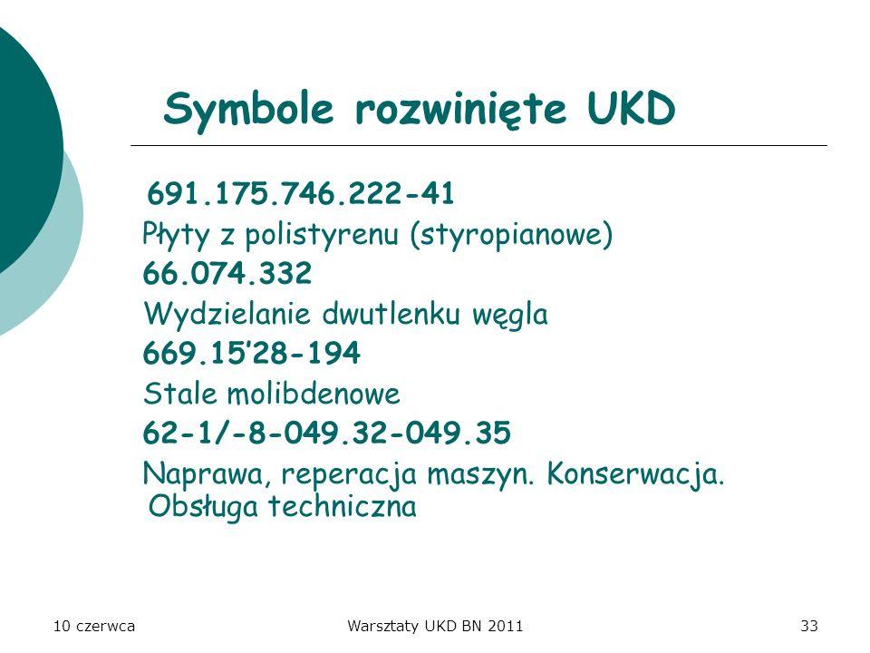 10 czerwcaWarsztaty UKD BN 201133 Symbole rozwinięte UKD 691.175.746.222-41 Płyty z polistyrenu (styropianowe) 66.074.332 Wydzielanie dwutlenku węgla