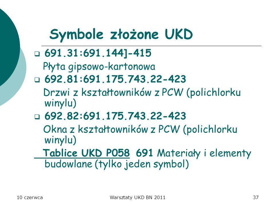 10 czerwcaWarsztaty UKD BN 201137 Symbole złożone UKD 691.31:691.144]-415 Płyta gipsowo-kartonowa 692.81:691.175.743.22-423 Drzwi z kształtowników z P