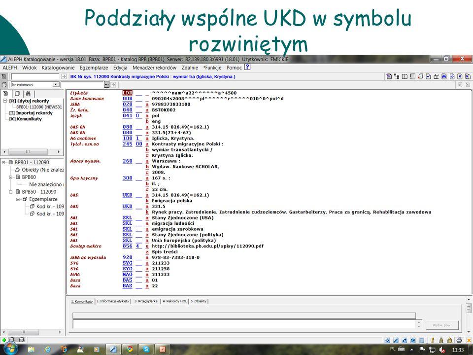 10 czerwcaWarsztaty UKD BN 201153 Poddziały wspólne UKD w symbolu rozwiniętym