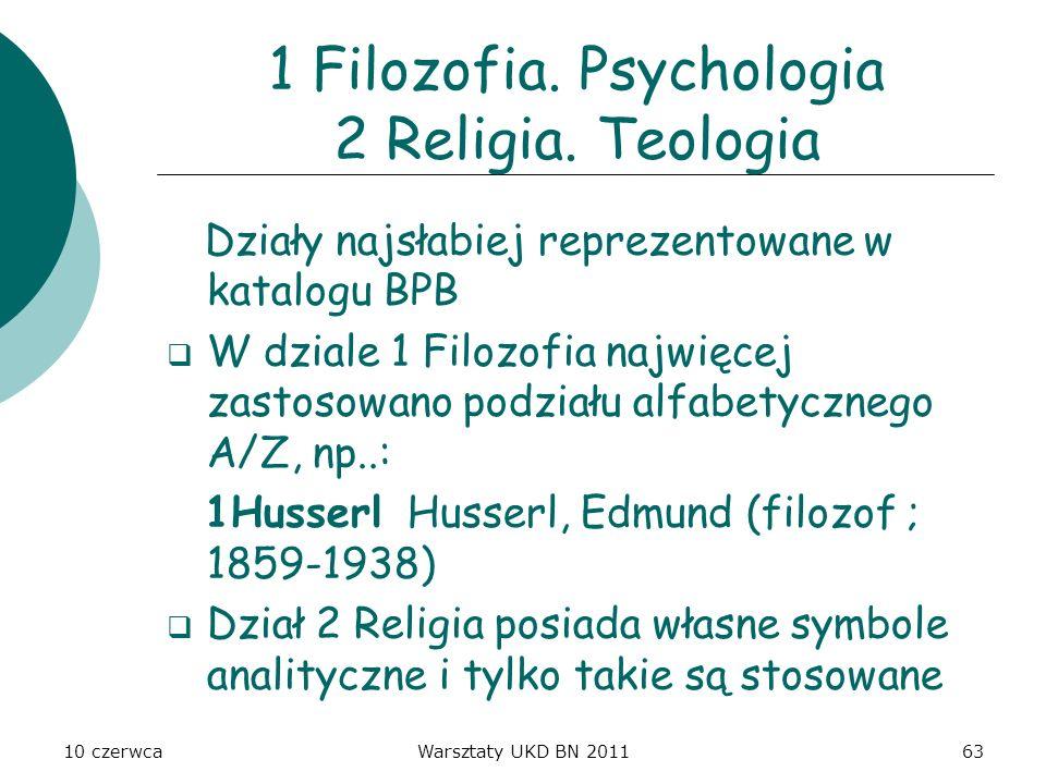10 czerwcaWarsztaty UKD BN 201163 1 Filozofia. Psychologia 2 Religia. Teologia Działy najsłabiej reprezentowane w katalogu BPB W dziale 1 Filozofia na