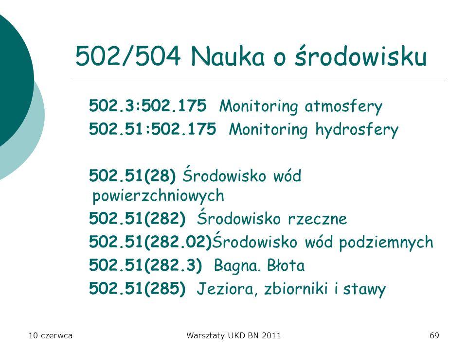 10 czerwcaWarsztaty UKD BN 201169 502/504 Nauka o środowisku 502.3:502.175 Monitoring atmosfery 502.51:502.175 Monitoring hydrosfery 502.51(28) Środow