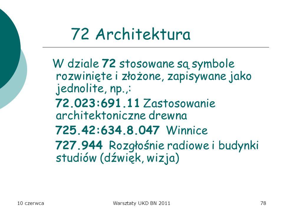 10 czerwcaWarsztaty UKD BN 201178 72 Architektura W dziale 72 stosowane są symbole rozwinięte i złożone, zapisywane jako jednolite, np.,: 72.023:691.1