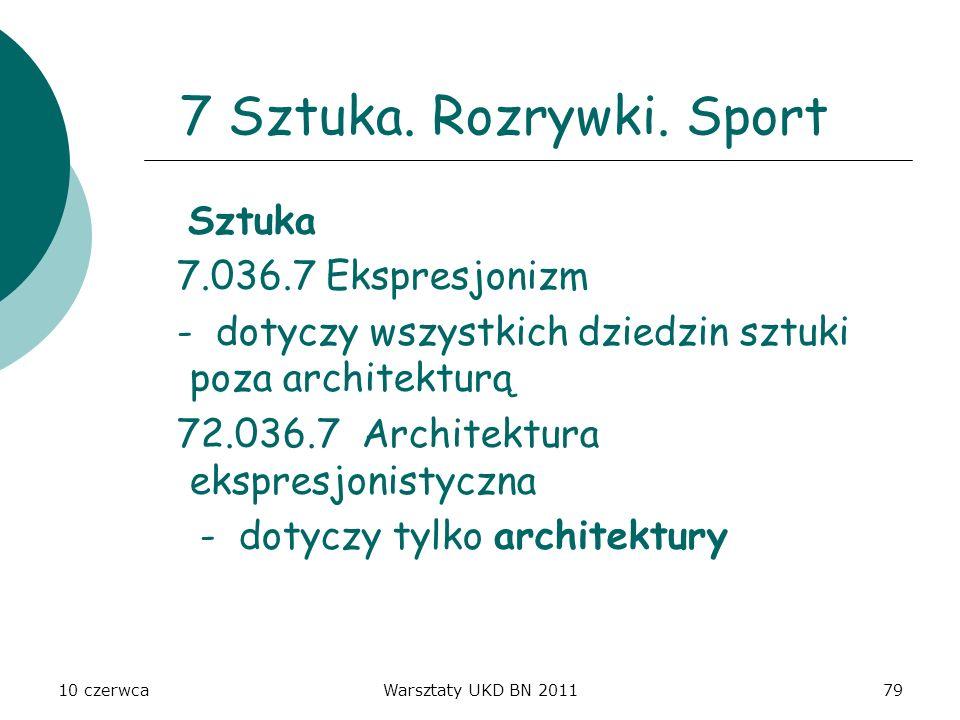 10 czerwcaWarsztaty UKD BN 201179 7 Sztuka. Rozrywki. Sport Sztuka 7.036.7 Ekspresjonizm - dotyczy wszystkich dziedzin sztuki poza architekturą 72.036