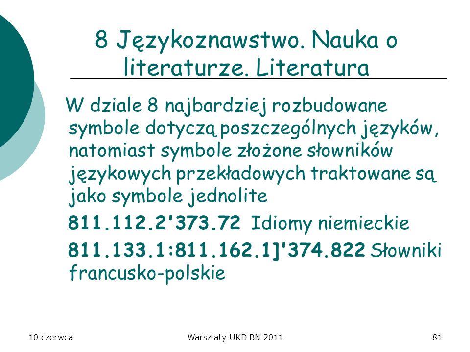 10 czerwcaWarsztaty UKD BN 201181 8 Językoznawstwo. Nauka o literaturze. Literatura W dziale 8 najbardziej rozbudowane symbole dotyczą poszczególnych