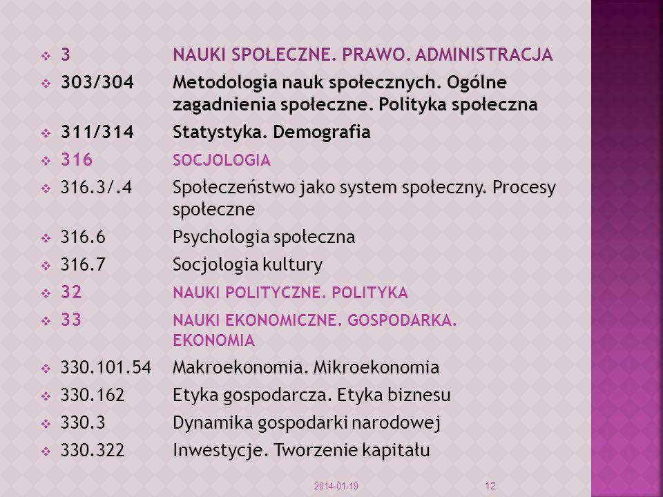 3NAUKI SPOŁECZNE. PRAWO. ADMINISTRACJA 303/304Metodologia nauk społecznych. Ogólne zagadnienia społeczne. Polityka społeczna 311/314Statystyka. Demogr