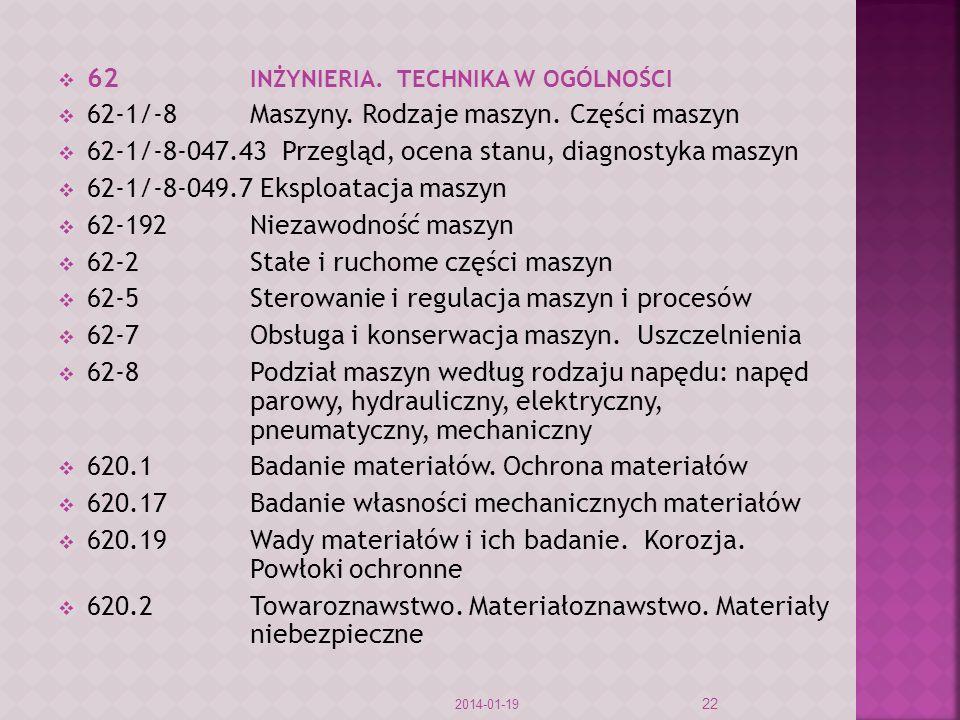 62 INŻYNIERIA. TECHNIKA W OGÓLNOŚCI 62-1/-8Maszyny. Rodzaje maszyn. Części maszyn 62-1/-8-047.43 Przegląd, ocena stanu, diagnostyka maszyn 62-1/-8-049