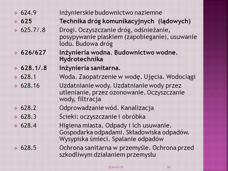 624.9Inżynierskie budownictwo naziemne 625Technika dróg komunikacyjnych (lądowych) 625.7/.8Drogi.