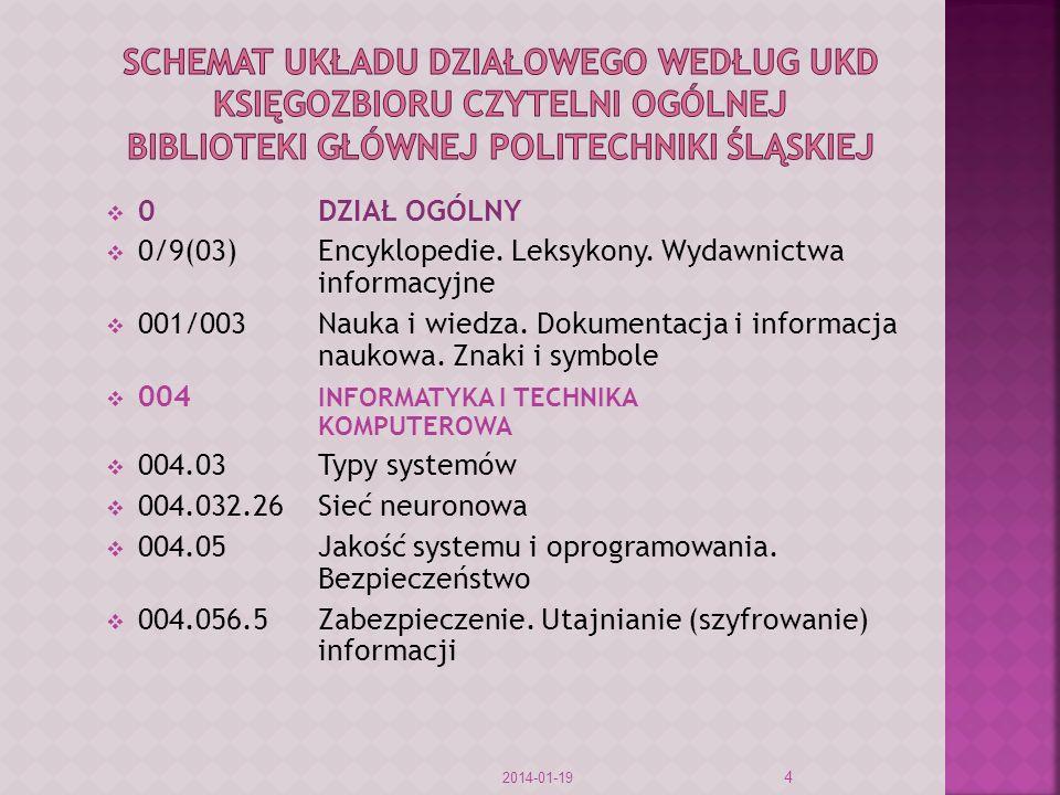 0DZIAŁ OGÓLNY 0/9(03)Encyklopedie. Leksykony. Wydawnictwa informacyjne 001/003Nauka i wiedza. Dokumentacja i informacja naukowa. Znaki i symbole 004 I