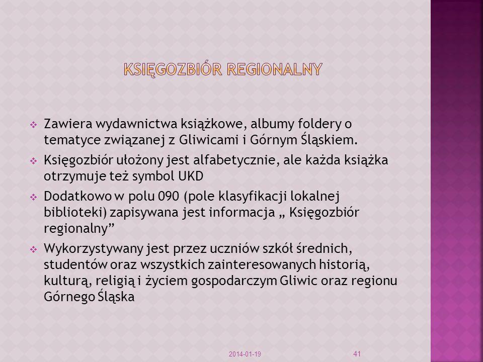 Zawiera wydawnictwa książkowe, albumy foldery o tematyce związanej z Gliwicami i Górnym Śląskiem. Księgozbiór ułożony jest alfabetycznie, ale każda ks