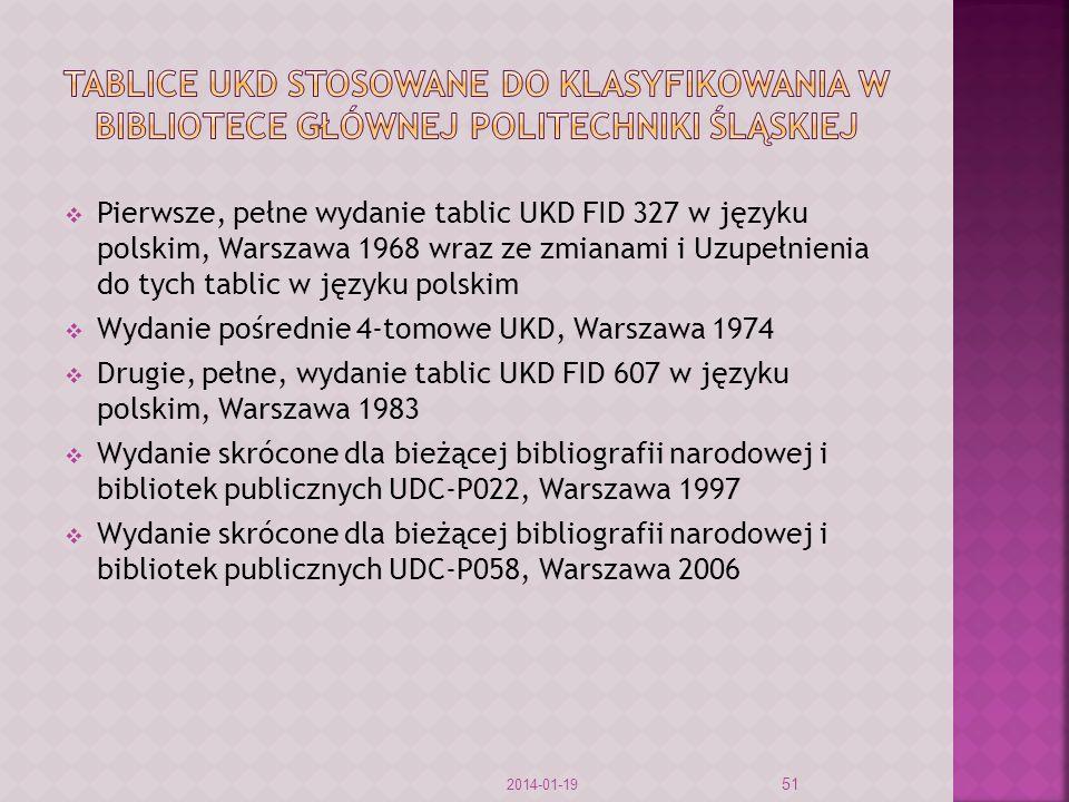 Pierwsze, pełne wydanie tablic UKD FID 327 w języku polskim, Warszawa 1968 wraz ze zmianami i Uzupełnienia do tych tablic w języku polskim Wydanie pośrednie 4-tomowe UKD, Warszawa 1974 Drugie, pełne, wydanie tablic UKD FID 607 w języku polskim, Warszawa 1983 Wydanie skrócone dla bieżącej bibliografii narodowej i bibliotek publicznych UDC-P022, Warszawa 1997 Wydanie skrócone dla bieżącej bibliografii narodowej i bibliotek publicznych UDC-P058, Warszawa 2006 2014-01-19 51