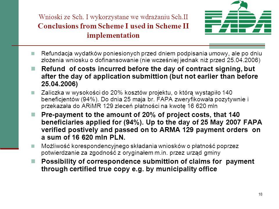 18 Refundacja wydatków poniesionych przed dniem podpisania umowy, ale po dniu złożenia wniosku o dofinansowanie (nie wcześniej jednak niż przed 25.04.2006) Refund of costs incurred before the day of contract signing, but after the day of application submittion (but not earlier than before 25.04.2006) Zaliczka w wysokości do 20% kosztów projektu, o którą wystąpiło 140 beneficjentów (94%).