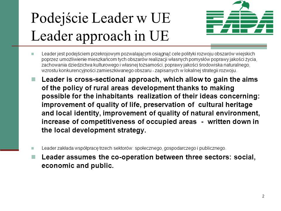 2 Podejście Leader w UE Leader approach in UE Leader jest podejściem przekrojowym pozwalającym osiągnąć cele polityki rozwoju obszarów wiejskich poprzez umożliwienie mieszkańcom tych obszarów realizacji własnych pomysłów poprawy jakości życia, zachowania dziedzictwa kulturowego i własnej tożsamości, poprawy jakości środowiska naturalnego, wzrostu konkurencyjności zamieszkiwanego obszaru - zapisanych w lokalnej strategii rozwoju.