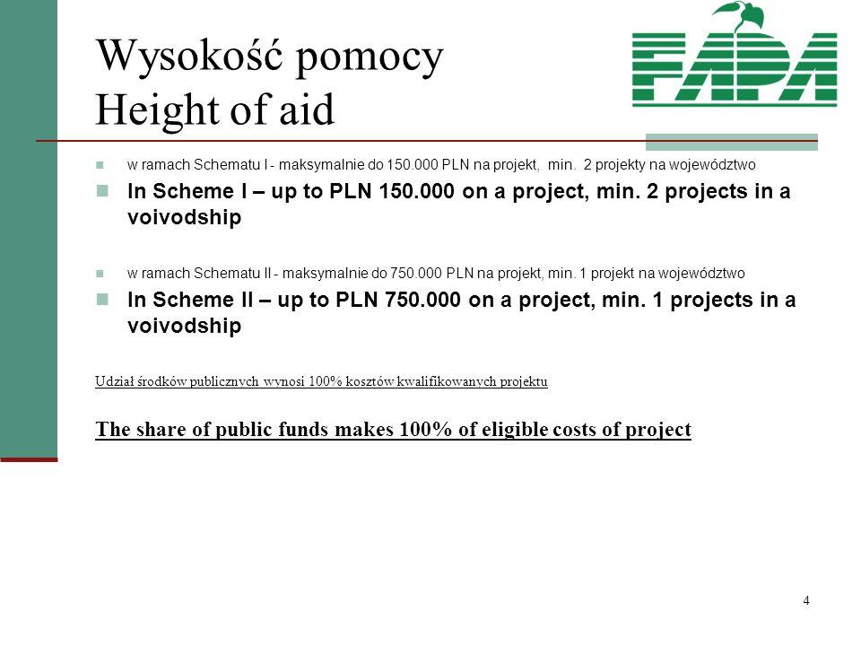 4 Wysokość pomocy Height of aid w ramach Schematu I - maksymalnie do 150.000 PLN na projekt, min.