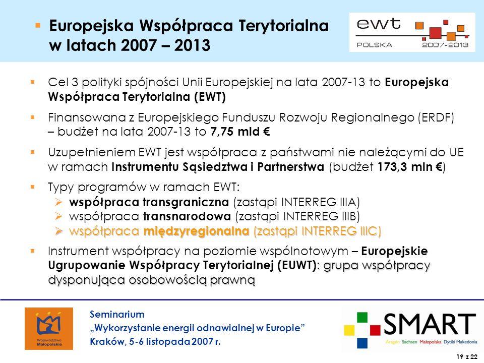 Seminarium Wykorzystanie energii odnawialnej w Europie Kraków, 5-6 listopada 2007 r.