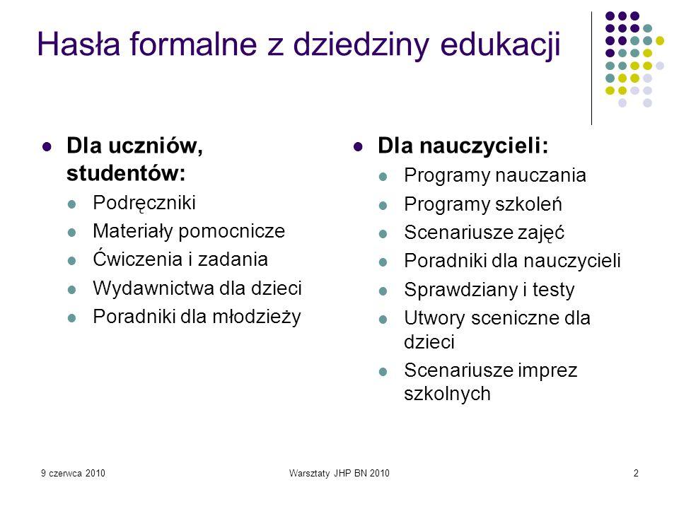 9 czerwca 2010Warsztaty JHP BN 201043 Chemia 3 : wybrane scenariusze lekcji dla nauczyciela gimnazjum / Bożena Kupczyk, Wiesława Nowak, Maria Barbara Szczepaniak.