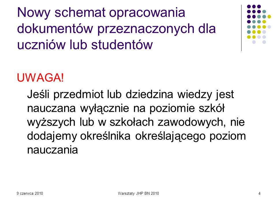9 czerwca 2010Warsztaty JHP BN 201045 O euro inaczej : scenariusze lekcji : praca zbiorowa / pod red.