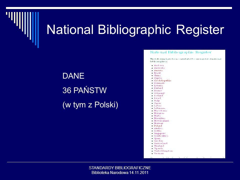 STANDARDY BIBLIOGRAFICZNE Biblioteka Narodowa 14.11.2011 National Bibliographic Register DANE 36 PAŃSTW (w tym z Polski)